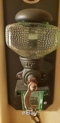 Vintage Antique David Birch Cast Iron & green Glass Coffee Grinder Wall Mount