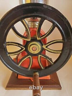 Vintage Antique Elma Style Red Cast Iron One Wheel Hand Crank Coffee Grinder