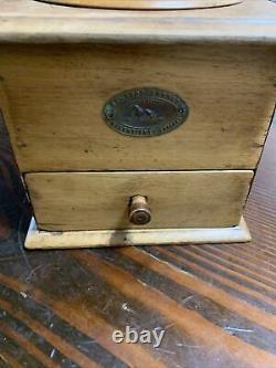 Vintage Antique PEUGEOT FRERES Walnut Wood Coffee Grinder Mill
