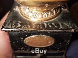 Vintage Antique Victorian Baldwin Son & Co. Brass Cast Iron Coffee Grinder