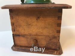Vintage Antique Wood & Steel Manual Hand Crank Coffee Mill Grinder Green Cover