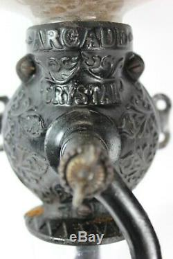 Vintage Arcade Coffee Grinder Wall Mount Antique with Original Freeport, ILL Glass