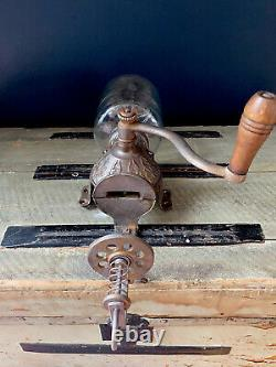 Vintage Arcade Crystal Coffee Grinder Wall Mount Cast Iron With Original Glass