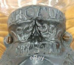 Vintage Arcade Crystal Coffee Grinder Wall Mount Hand Crank Antique Glass
