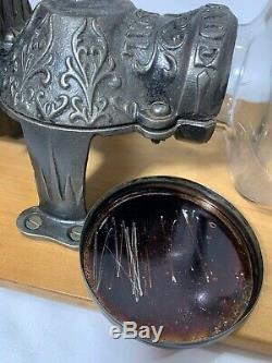 Vintage Arcade Crystal Coffee Grinder Wall Mount Hand Crank Antique Glass EXC