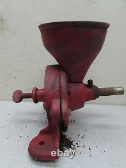 Vintage Cast Iron Primitive Coffee Grinder Spice Grain Mill Hand Crank Pully