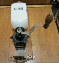Vintage Coffee Grinder Cast Iron & Porcelain Wall Mount Kaffee-Alexanderwerk