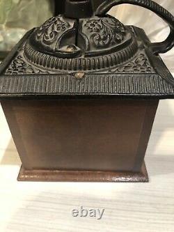 Vintage Coffee Grinder Cast Iron Wood
