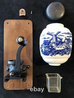Vintage Coffee Grinder Dutch Windmill Delft Wall Mount Country Kitchen Crank