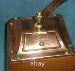 Vintage De Ve Copper Top Wooden Hand Crank Coffee Grinder Holland