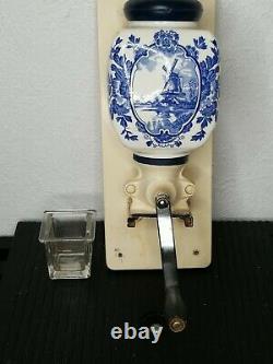 Vintage De Ve Holland BLUE DELFT Windmill Wall-Mount Coffee Grinder COMPLETE
