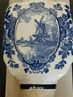 Vintage De Ve Holland Blue Delft Windmill COFFEE GRINDER Wall Mount DeVe Mill