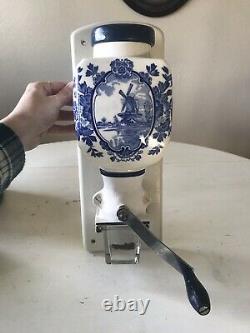 Vintage De Ve Holland Porcelain Blue Delft Wall-Mount Coffee Grinder COMPLETE