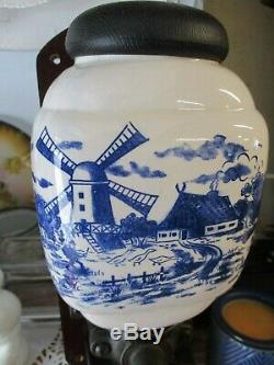 Vintage De Ve Holland Wall-Mount Coffee Grinder Mill Blue Delft Windmill W GLASS