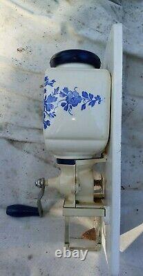 Vintage DeVe Coffee Grinder Holland Delft Porcelain Blue Wall Mount'50's Stag