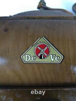 Vintage DeVe DE VE Wooden Wood Coffee Spice Grinder Made in Holland WORKS