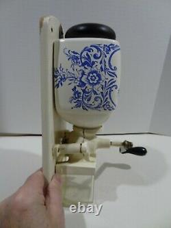 Vintage DeVe Holland Wall Mount Coffee Grinder Mill Blue Delft Windmill Complete