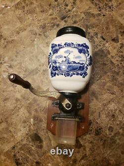 Vintage Delft Porcelain Coffee Grinder Blue/White Dutch Windmill Wall Mount
