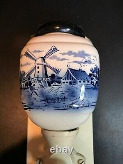 Vintage Dutch Blue& White Porcelain Wall Coffee Grinder. By CI #2033. Germany
