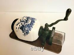 Vintage Dutch Holland Delft Blue/White Wall Mount Coffee Grinder 12 Tall
