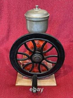 Vintage ELMA Single Wheel Coffee Grinder Mill Good Working Order