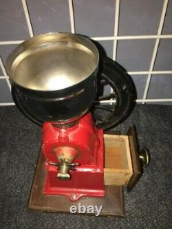 Vintage Elma cast iron wheel crank coffee mill grinder