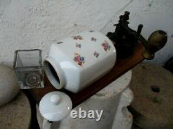 Vintage Germany Coffee Grinder Mill Iron & Porcelain Flowers Motif Wall Mount