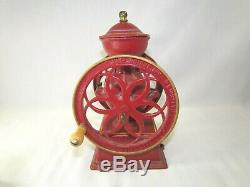 Vintage John Wright Coffee Mill Grinder Cast Iron Red And Gold (T1)