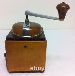 Vintage KYM Mokka Coffee Grinder Mill Rare 2 Tone Wood Signed Stahlmahlwerk