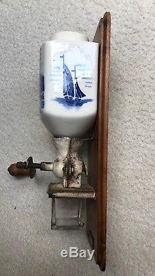 Vintage Kaffee Grinder. Style Blue & White Windmill Canister. Garantiert Manlwerk