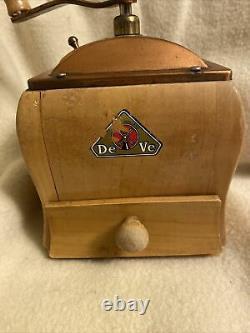 Vintage Made in Holland DeVe DE VE Wooden Wood Coffee Spice GRINDER, Copper Top