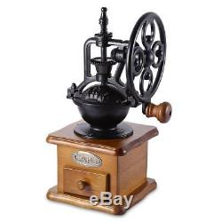 Vintage Manual Coffee Grinder Ceramic Movement Iron Mill Retro Design Wooden