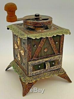 Vintage Old Coffee Grinder Mill Wood Bone Brass Metal Collectible