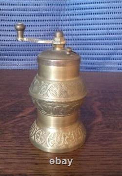 Vintage Old Grinder MILL Brass Coffe Pepper Turkish Turkey Calligraphy