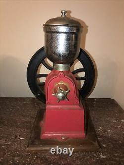 Vintage Original ELMA Red Cast-Iron Hand Crank Coffee Grinder