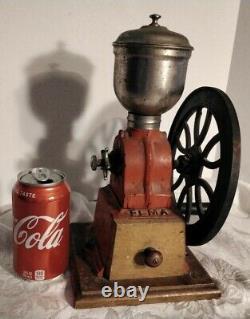 Vintage Original ELMA Red Cast-Iron Hand Crank Coffee Grinder, Made In Spain
