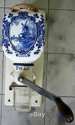 Vintage Pe De Holland BLUE DELFT Windmill Wall-Mount Coffee Grinder Mill