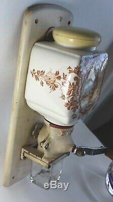 Vintage PeDe Dutch Red Windmill Delft Coffee Grinder Wall Mill