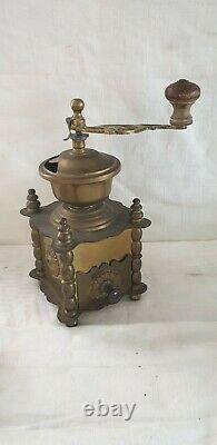 Vintage Solid Brass Coffee Grinder Hand Crank Mill