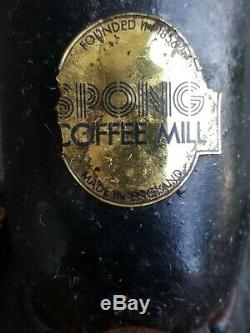Vintage Spong & C. Ltd Hand Crank No. 2 Coffee Grinder Mill Made In England