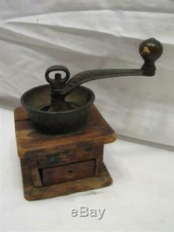 Vintage Toy Salesman Sample Burr Coffee Mill Lap Grinder Needs Love Cast iron