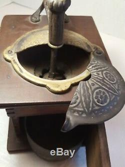 Vintage Wood & Metal Antique Hand Crank Coffee Grinder WithOrg. Tin & Wood Cup