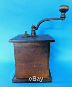 Vintage Wooden Coffee Grinder Unique Side Handle Working Condition