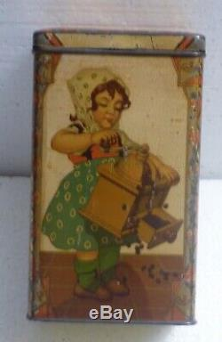 Vintage v. Rossem´s Coffee Can ca. 1920 Girl with coffee grinder mill bEaUtIfUlL