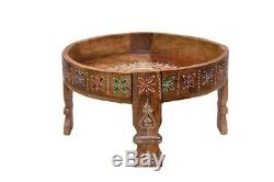 Wood Antique Indian Chakki Grinder Chakki And Office And Home Coffee Table