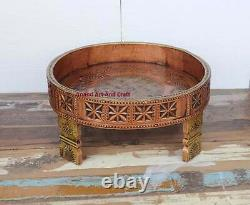 Wood Coffee Table Hand Made Carved Grinder table Chakki Table Mettle fitted