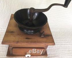 Wooden Coffee Grinder, hand-crank, antique