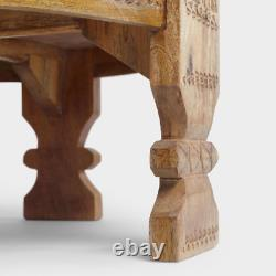 Wooden Indian Round Brass Cutting Punching Antique Grinder Coffee Table